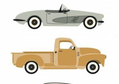 Affiche voitures anciennes de chez Lutin petit pois